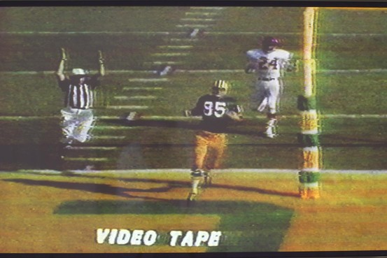 A still from one of only two surviving tapes of the 1967 CBS broadcast of Super Bowl I.  The two tapes contain almost the entire football game. Prior to their discovery, only thirty seconds of the game was known to exist (The Wall Street Journal).