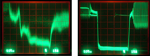 (Left to Right) The uncorrected and corrected signal output from the Type A videotape recordings of Johnny Cash Presents The Everly Brothers Show. Photographs courtesy of Ralph Sargent of Film Technology, Inc.