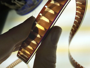 16mm color negative film with bilateral area optical soundtrack. The Braun Research Library lacked proper film inspection equipment, which proved to be a challenge.
